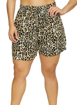 Plus Size Multi Print Shorts