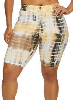 Plus Size Soft Knit Tie Dye Bike Shorts - 3931061352424