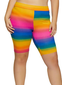 Plus Size Multi Color Tie Dye Bike Shorts - 3931061356324