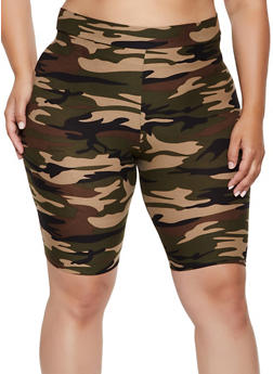 Plus Size Camouflage Soft Knit Bike Shorts - 3931061356363