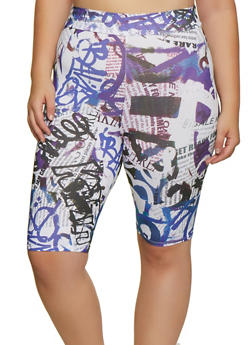 Plus Size Graffiti Newspaper Print Bike Shorts - 3931061359632