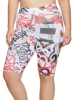 Plus Size Graffiti Newspaper Print Bike Shorts - 3931061359632