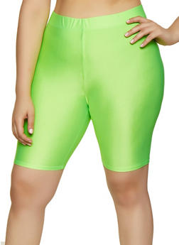 Plus Size Neon Bike Shorts - 3931062700263