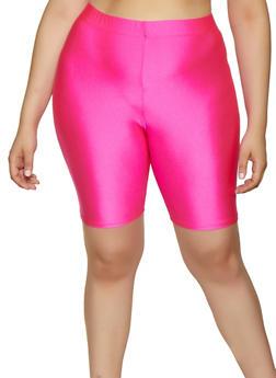 Plus Size Neon Bike Shorts - 3931062700263
