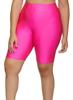 Plus Size Solid Spandex Bike Shorts - PINK - 3931062703623