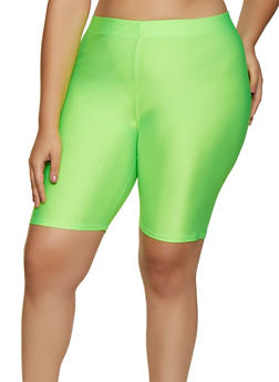 Plus Size Solid Spandex Bike Shorts - NEON LIME - 3931062703623