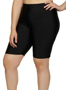 Plus Size Spandex Bike Shorts - 3931062706363