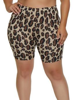 Plus Size Animal Print Bike Shorts - 3931063408200