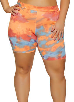 Plus Size Printed Soft Knit Bike Shorts - 3931068511122