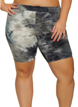 Plus Size Soft Knit Tie Dye Bike Shorts - 3931068512121