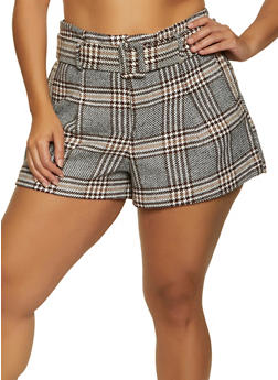 Plus Size Belted Plaid Shorts - 3931069393083