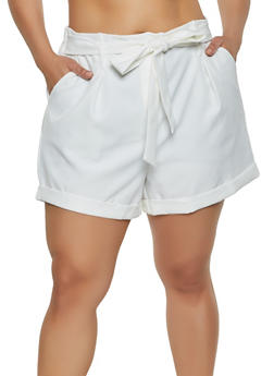 Plus Size Tie Front Fixed Cuff Shorts - 3931069393099