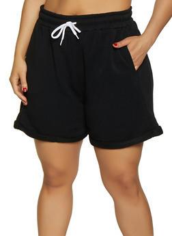 Plus Size Fleece Lined Sweatshorts - 3931072299920