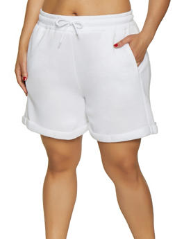 Plus Size Fleece Lined Sweatshorts - 3931072299920