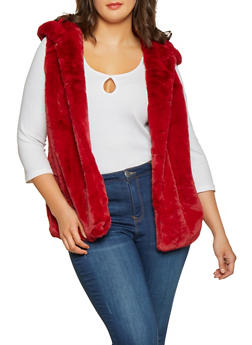 Plus Size Hooded Faux Fur Vest - 3932054211027