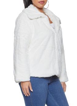 Plus Size Faux Fur Jacket - 3932054211037
