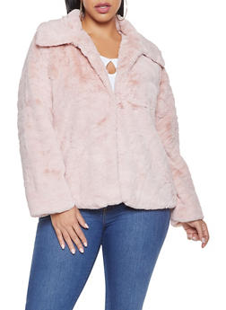 Plus Size Faux Fur Jacket - 3932054211037