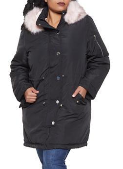 Plus Size Faux Fur Lined Anorak Jacket - BLACK - 3932054211062