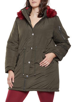 eb4c94f1a6d Plus Size Faux Fur Lined Anorak Jacket - 3932054211062
