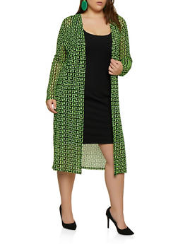 Plus Size Geometric Print Mesh Duster - 3932054211214