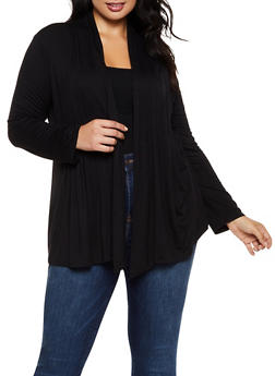 Plus Size Pleated Open Front Cardigan - 3932054212727
