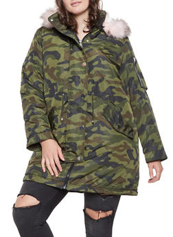 Plus Size Camo Faux Fur Lined Parka - 3932054214062