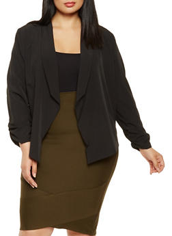 Plus Size Crochet Trim Blazer - 3932062704032