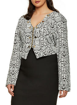 Plus Size Snake Print Sailor Blazer - 3932062706530