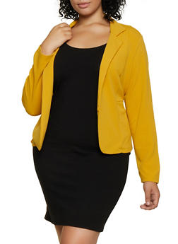 Plus Size Two Pocket Open Front Blazer - 3932062707103