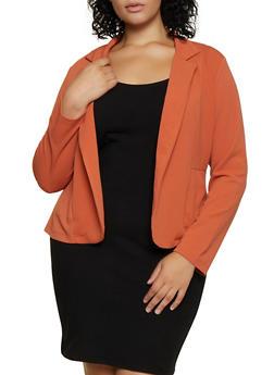 Plus Size Two Pocket Open Front Blazer - 3932062707103