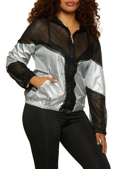 Plus Size Reflective Mesh Color Block Windbreaker - 3932063400013