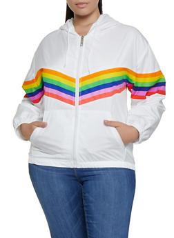 Plus Size Rainbow Stripe Hooded Windbreaker - 3932063400024