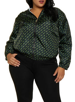 Plus Size Love Print Windbreaker | 3932063400077 - 3932063400077