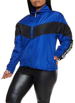 Plus Size Zip Front Love Windbreaker - 3932063401160