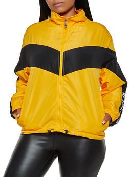 Plus Size Zip Front Love Windbreaker - 3932063401160