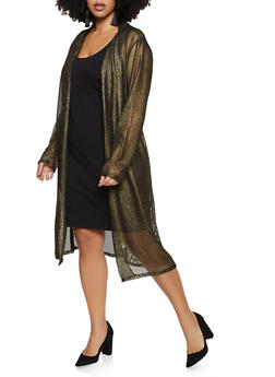 Plus Size Shimmer Fishnet Duster - 3932063401228