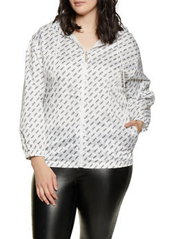 Plus Size Love Print Windbreaker - 3932063401248