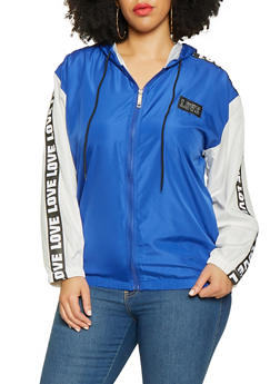 Plus Size Love Tape Trim Zip Up Windbreaker - 3932063401516