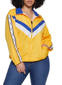 Plus Size Chevron Love Graphic Tape Windbreaker - 3932063401521