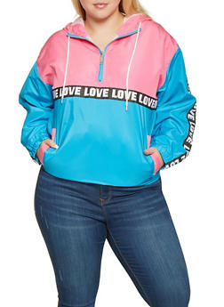 Plus Size Love Color Block Pullover Windbreaker - 3932063401747