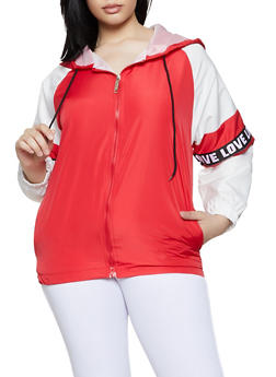 Plus Size Love Tape Color Block Windbreaker - 3932063401764