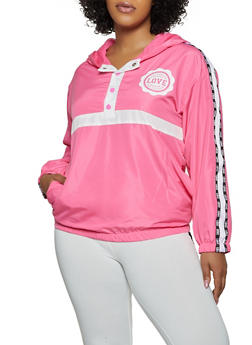 Plus Size Love Pullover Windbreaker - 3932063401766