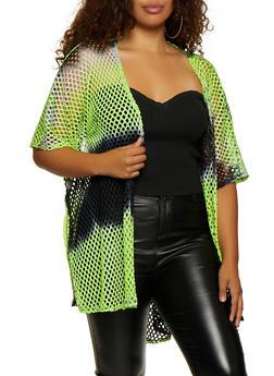 Plus Size Tie Dye Fishnet Kimono - 3932063406588