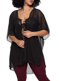 Plus Size Mesh Kimono - 3932063406589