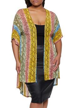 Plus Size Multi Color Snake Print Kimono - 3932063407278