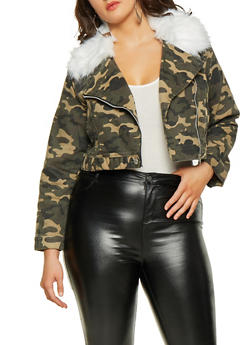 Plus Size Camo Faux Fur Collar Moto Jacket - 3932063407946