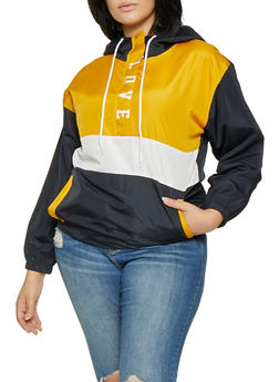 Plus Size Color Block Windbreaker - 3932063408680