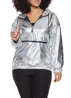 Plus Size Metallic Graphic Windbreaker - 3932063408684
