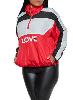 Plus Size Half Zip Love Windbreaker - 3932063408811