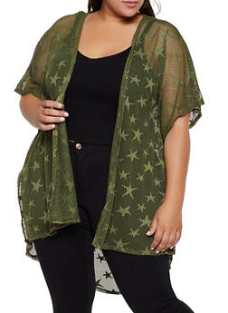Plus Size Star Embroidered Fishnet Kimono - 3932063408865